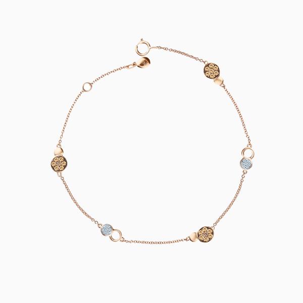 Браслет SL, розовое золото, бриллианты