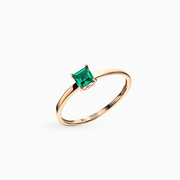 Кольцо SL, розовое золото, изумруд