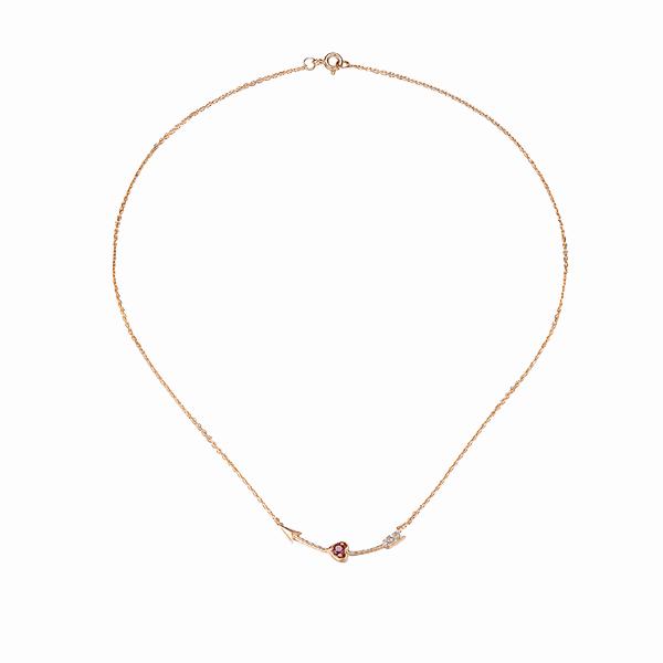 Подвеска SL, розовое золото, рубины, бриллианты
