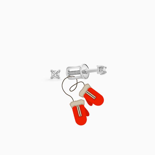 Серьги-пусеты SL из коллекции «Бриллианты Якутии», белое золото, бриллианты